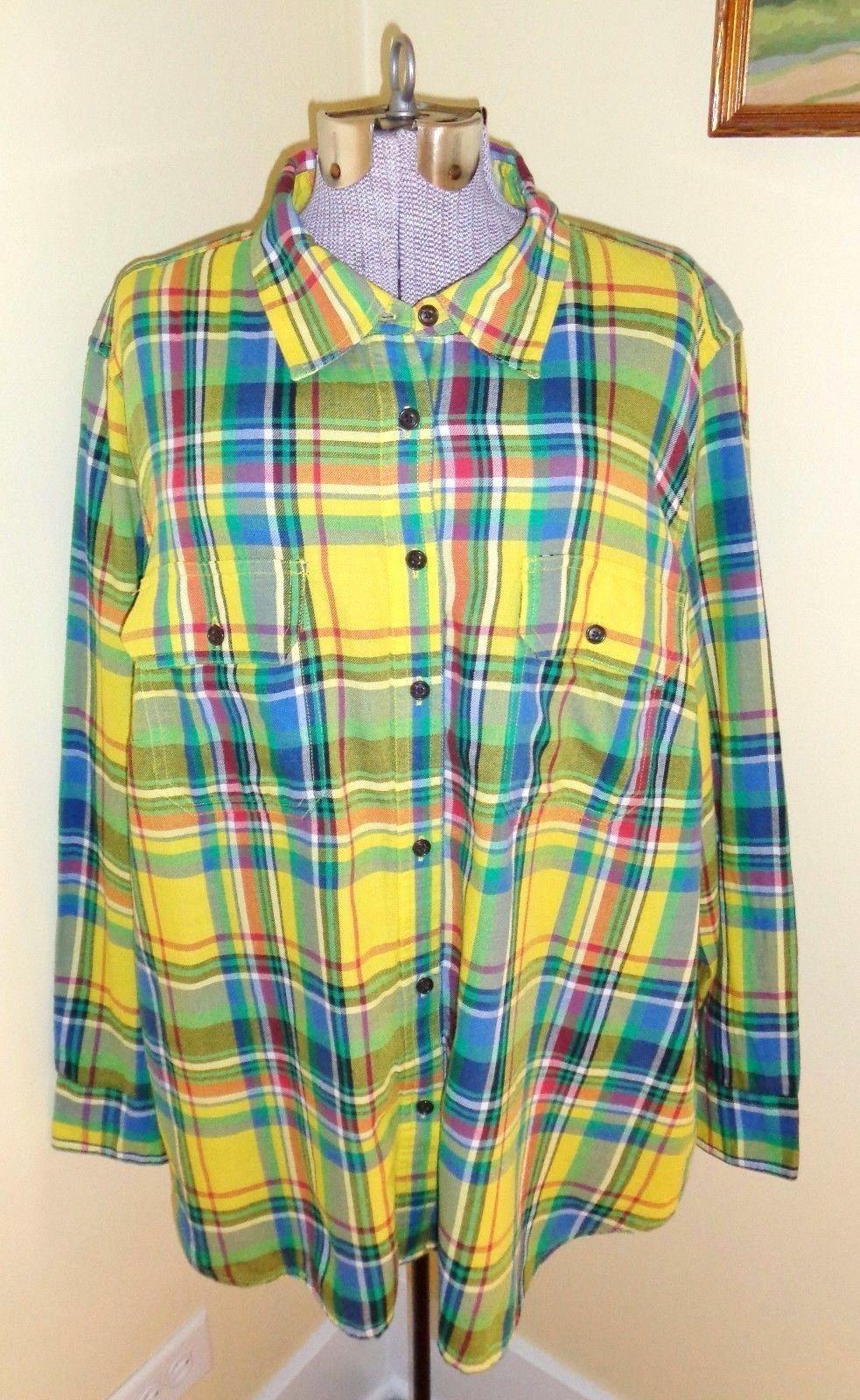 Flannel shirt plus size  Womens Plus Size X Chaps Plaid Lightweight Cotton Flannel Shirt Top
