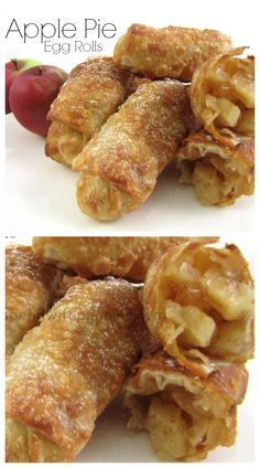 Apple Pie Egg Rolls! Crispy crust with a warm apple pie filling... if you liked the OLD McDonalds Apple Pies, you will LOVE these! #eggrolls