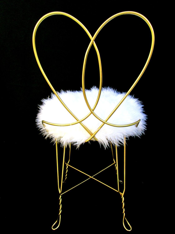 Vintage hollywood regency gold metal faux fur vanity chair vintage hollywood regency gold metal faux fur vanity chair heart shaped boudoir stool geotapseo Gallery