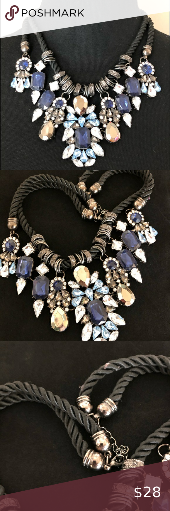 Double Strand Blue Stone Statement Necklace Bling