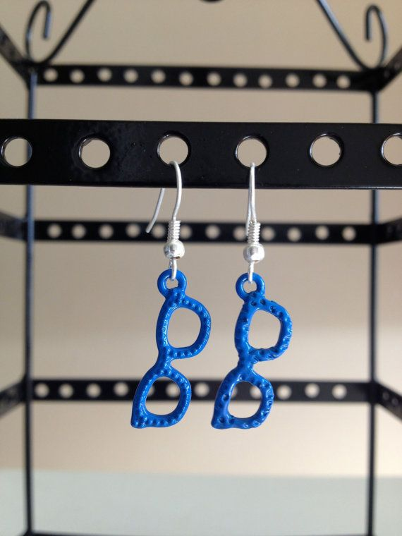 Small blue glasses dangle earrings. $5