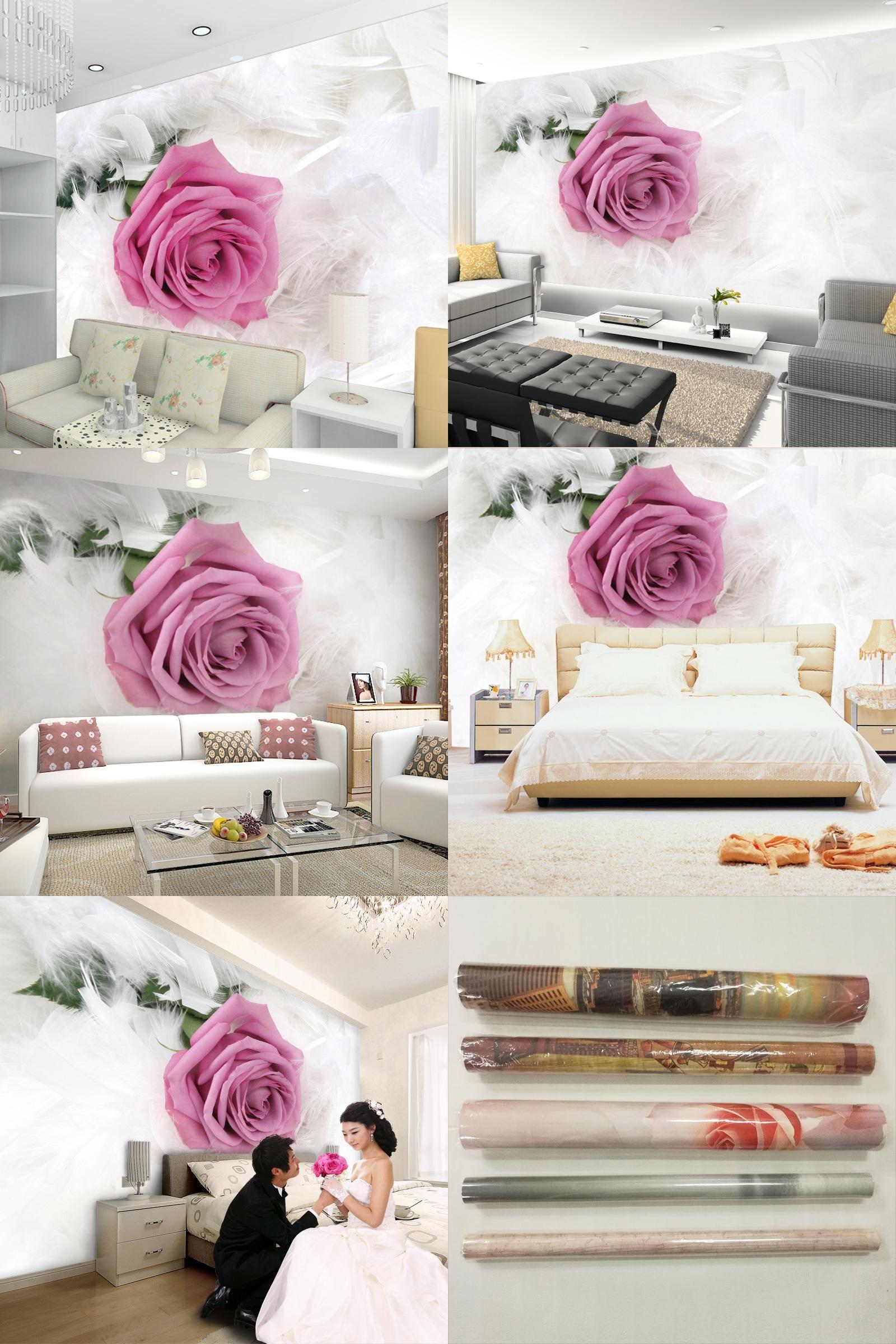 Large papel de parede decorative 3d wall panels murals wallpaper for -  Visit To Buy Custom 3d Photo Wallpaper Rose Flower Tv Background Large Mural Living