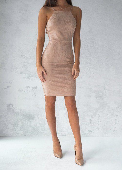 Kylie Suede Dress Beige Fashion Vestidos Vestidos