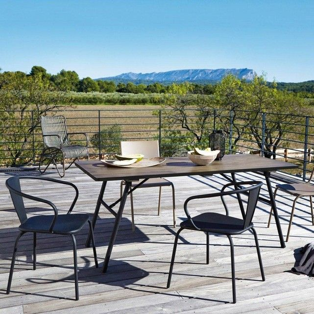 Table de jardin pliante bois et métal Sohan | Table de jardin ...