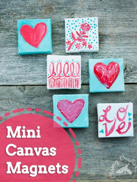 Mini Canvas Magnets Clumsy Crafter Valentines Art Valentines For Kids Mini Canvas