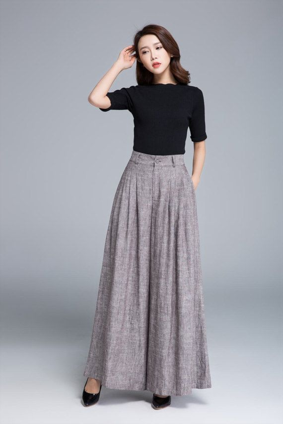 cbc58b3ba27e0 Palazzo pants, brown linen pants, wide leg pants, pleated pant ...