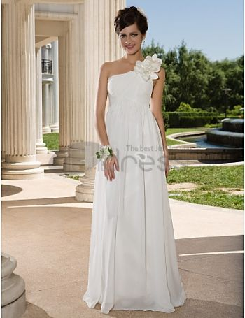Un hombro palabra de longitud gasa vestido de novia