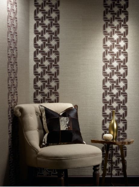 #Chain #Reaction #wallcovering collection uses a #timeless technique of #embroidered appliqué that takes a #modern turn with an interlocking chain motif of plush felt embroidered atop natural hemp and jute with contrast stitching.