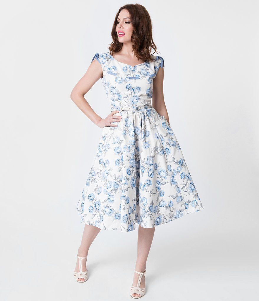 a8fbb823b05 Unique Vintage 1950s Style Ivory   Light Blue Floral Marlo Swing Dress