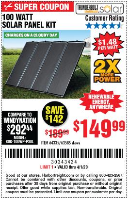 Thunderbolt Magnum Solar 100 Watt Solar Panel Kit For 149 99 In 2020 100 Watt Solar Panel Solar Panel Kits Solar Kit