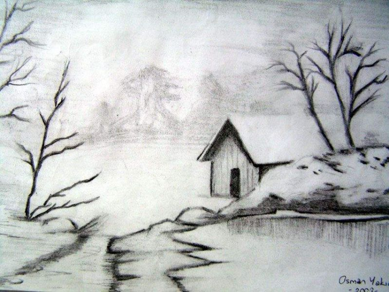 Manzara Resmi Karakalem Manzara Resmi Easy Pencil Drawings Fuzen Cizimleri Inanilmaz Cizimler