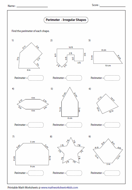 worksheets for finding perimeter of irregular shapes - Google Search ...