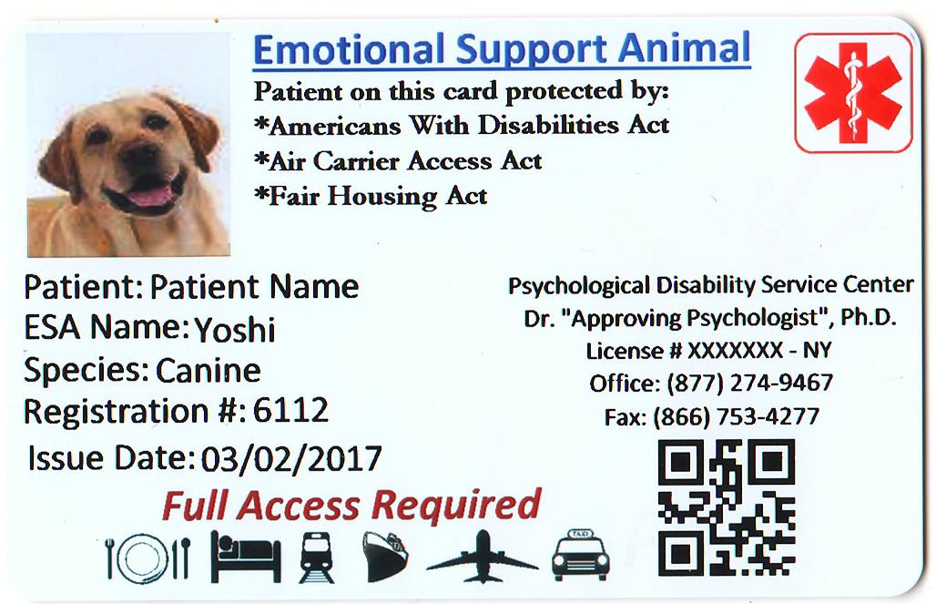 Esa Id Card Emotional Support Animal Emotional Support Support Animal