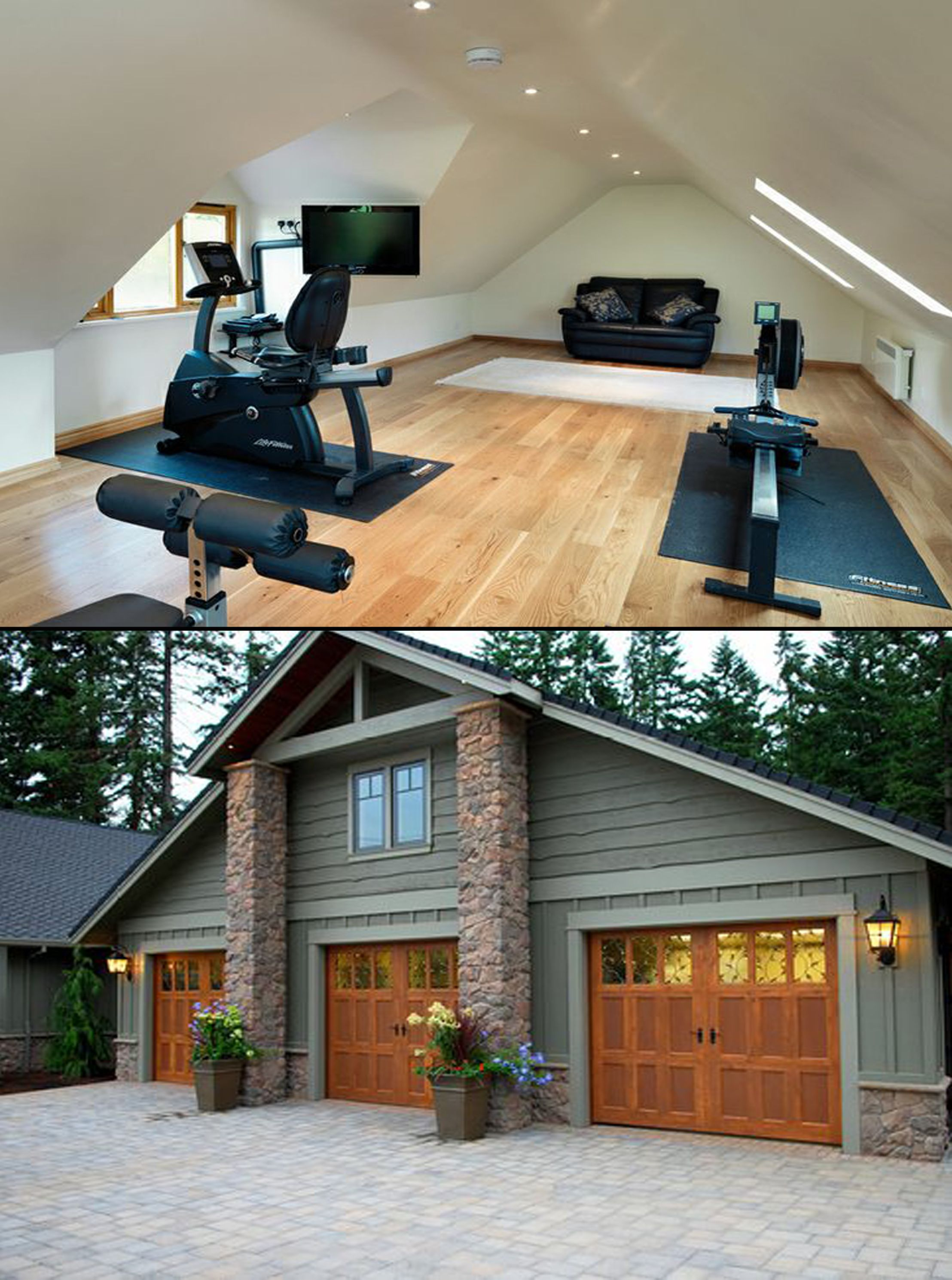3 Car Garage With Gym Upstairs New Homes