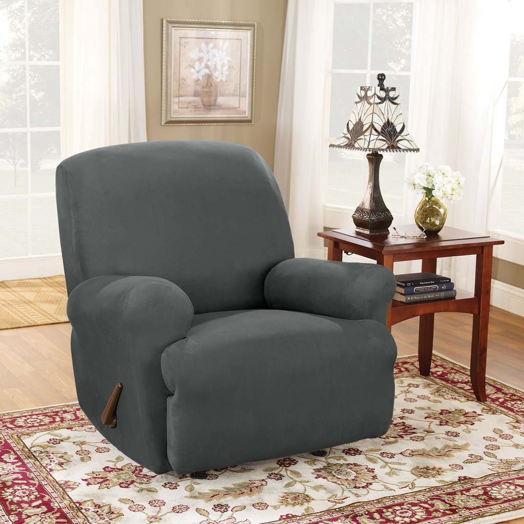 Sure Fit Stretch Suede Recliner Slipcover, Grey Recliner