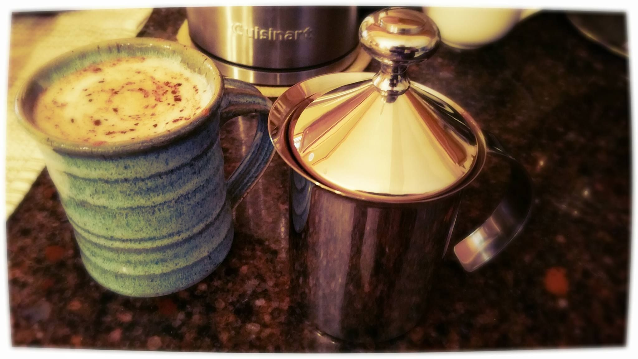 A beautiful glamor shot of a tea latte with frothed milk from our Stainless Steel Milk Frother. Thanks for sharing, Angela!