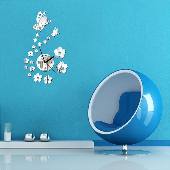 50%off Butterfly and flowers Mirror Clock Wall by EasyWallDecals $12.00
