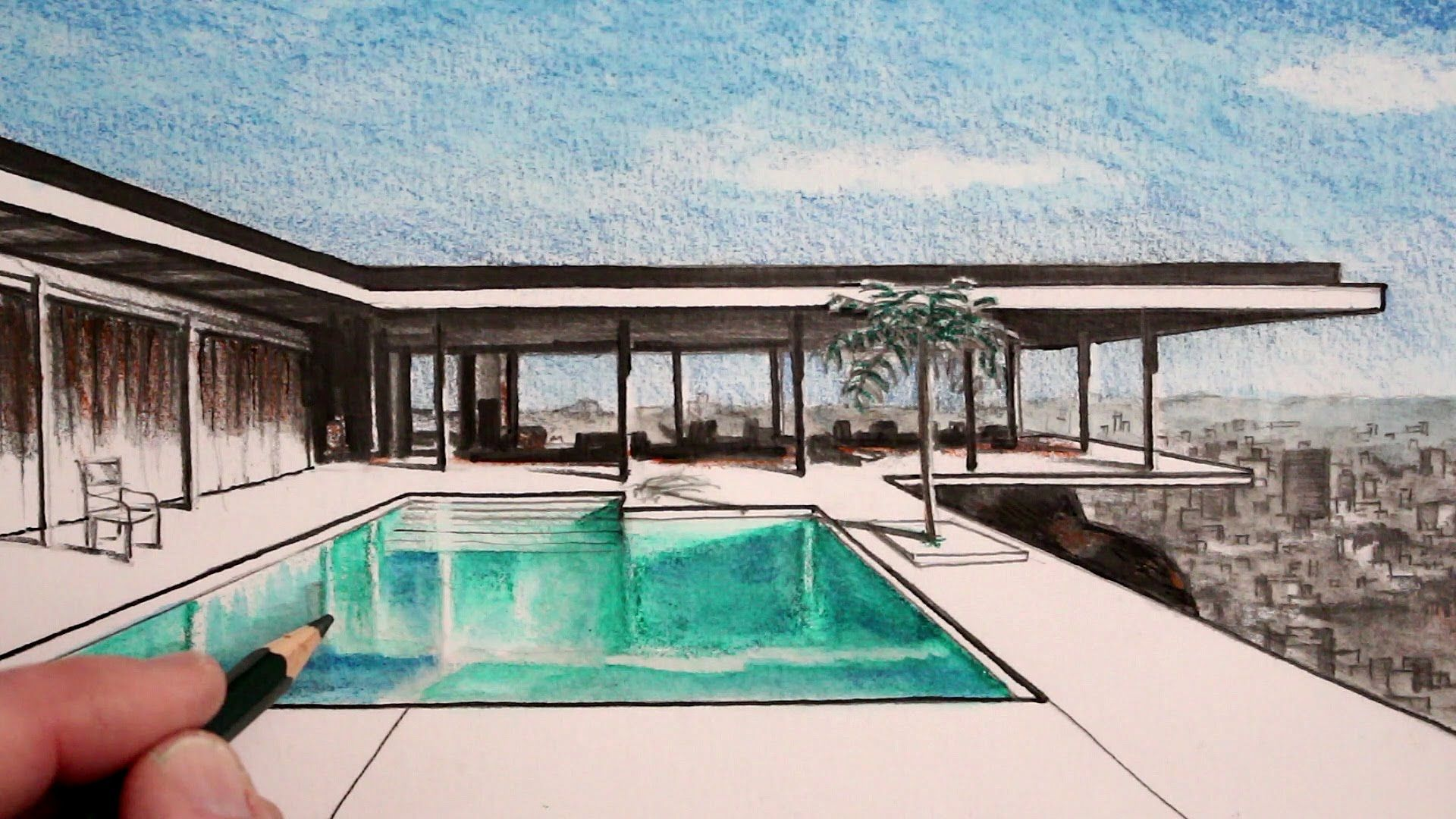 How To Draw A House In Perspective The Stahl House Narrated Perspective Drawing Pool Drawing Swimming Pool Drawing