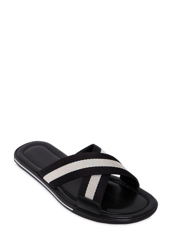 3f55ab8c2222 bally - men - sandals - rubber sandals w  web crisscross straps ...
