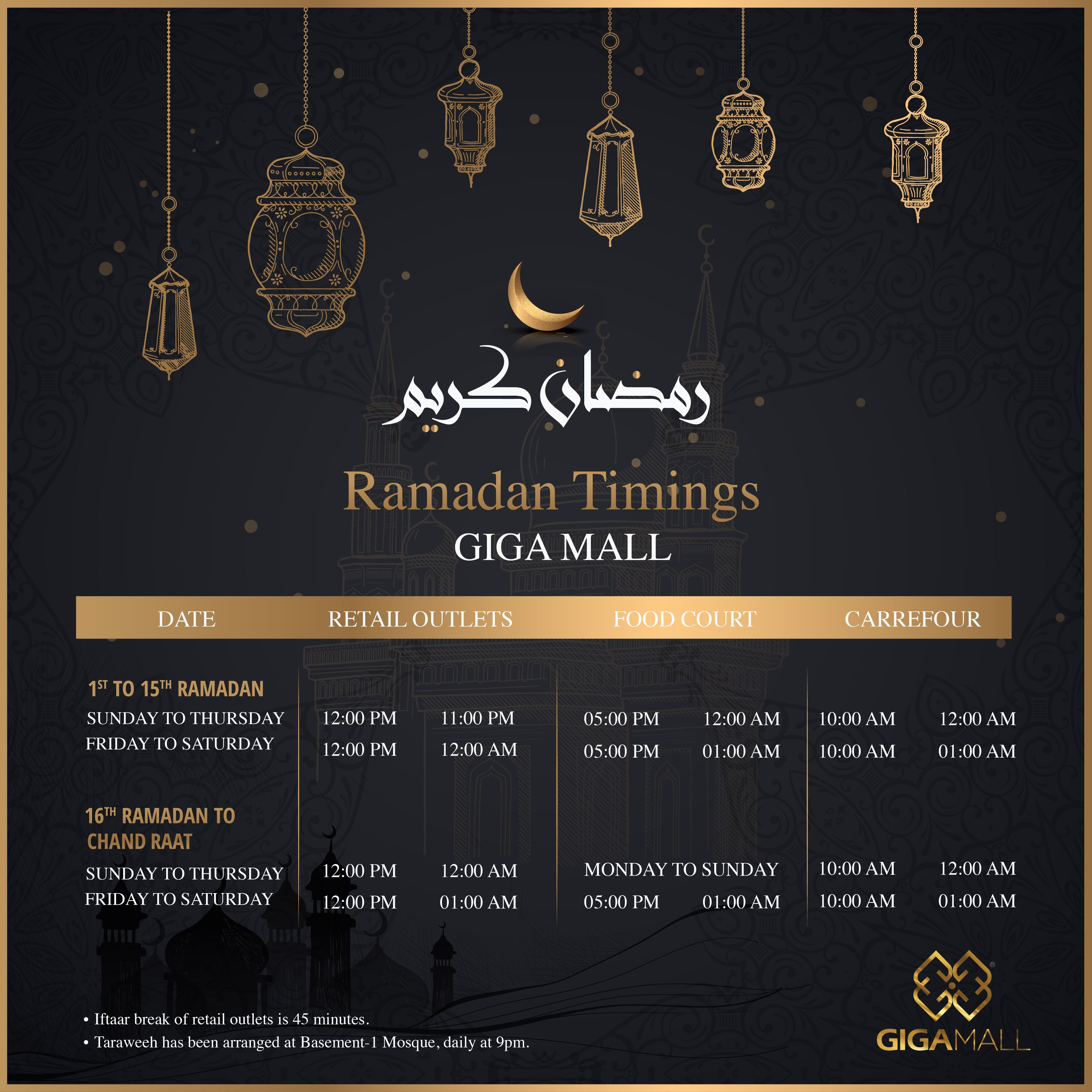Ramadan Timing Of Giga Mall 45 Minutes Break Of Retail Outlets