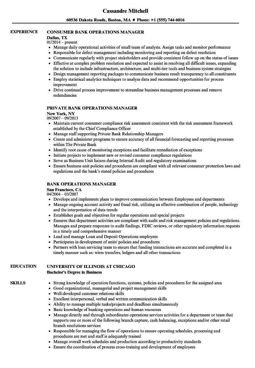 The fascinating Bank Operations Manager Resume Samples