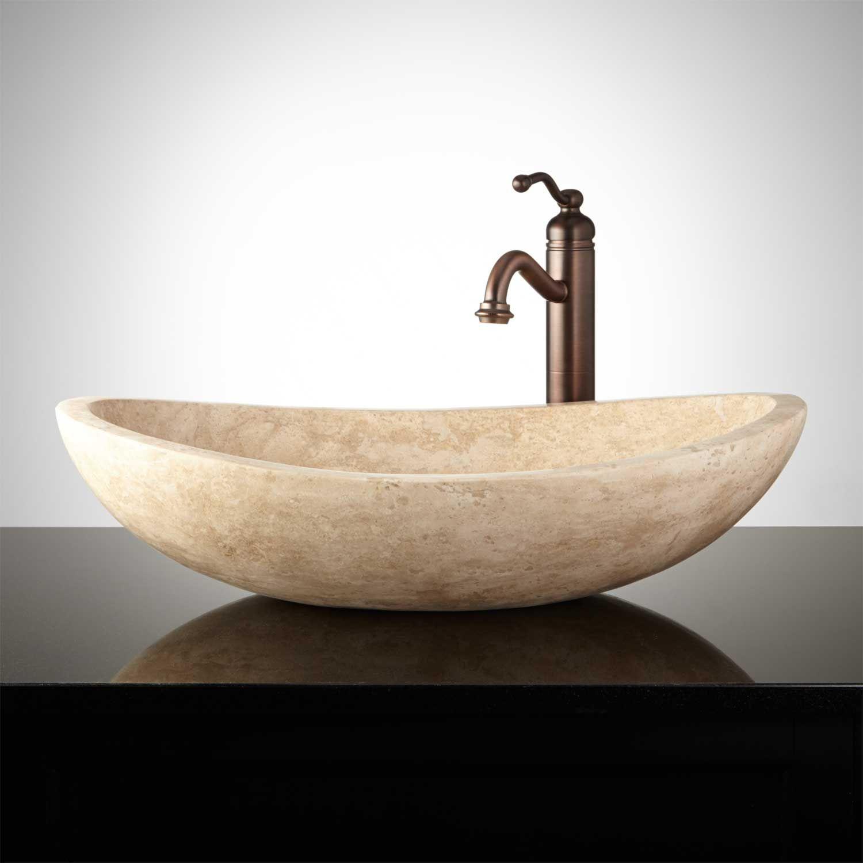 Curved Oval Polished Travertine Vessel Sink