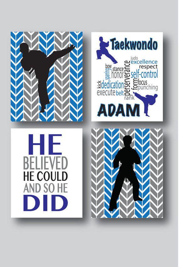 Set of 4 Personalized Karate Prints Karate Kid by MDesignCompany