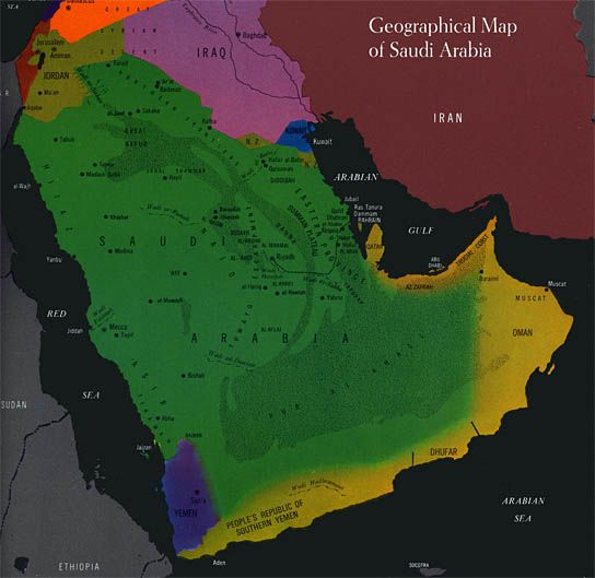 General Saudi Geography, 1960s | Maps in 2018 | Saudi Arabia, Map ...
