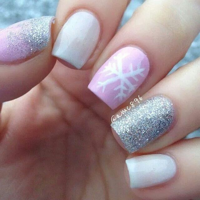 Pink white and silver very pretty short nail designs pink snowflake nails a girly take on christmas nails prinsesfo Images