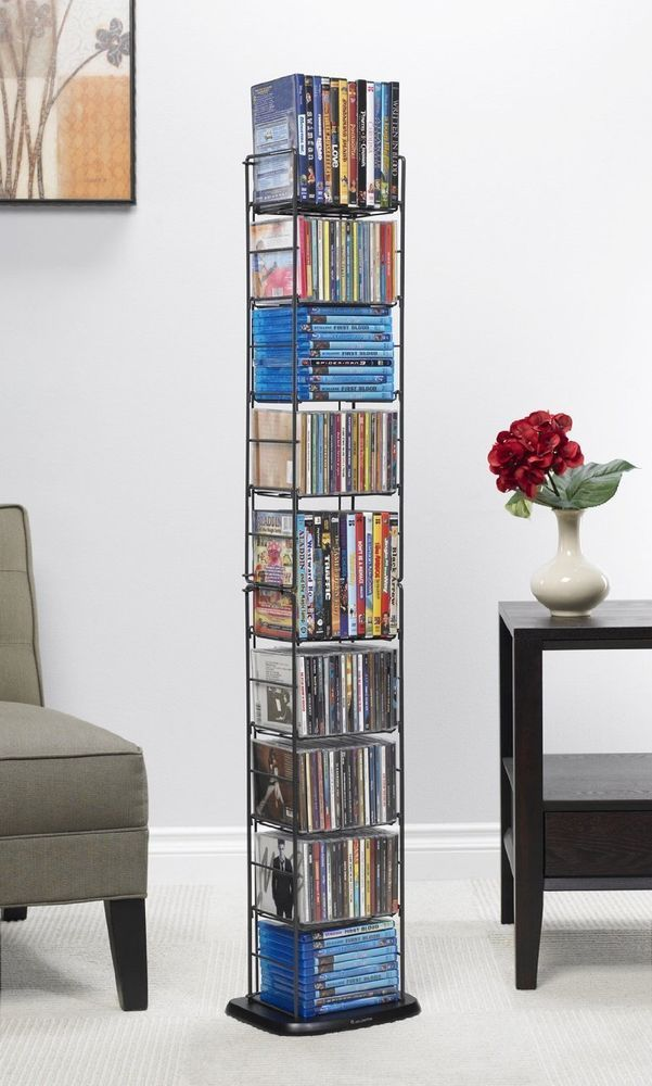 DVD Media Storage CD Tower Organizer Folding Rack Shelf Multimedia Stand  Holder #Atlantic #Modern