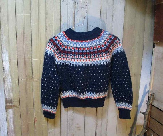 Vintage Kids Sweater Denmark Fair Isle Navy by funkomavintage ...
