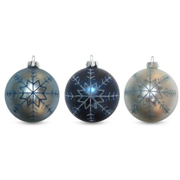 Season\'s Designs Blue & White Silver Glitter Snowflake Design Blown ...