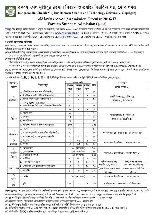 BSMRSTU Admission Test and Result,Bangabandhu Sheikh Mujibur - job test