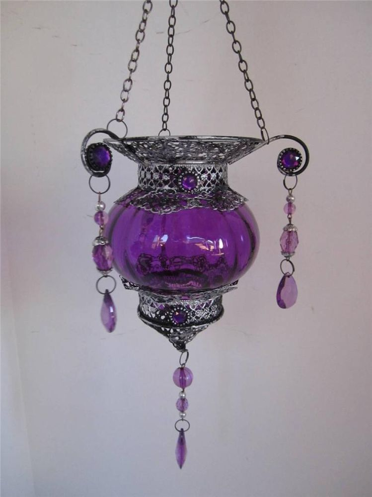 Meval Vintage Purple Gl Hanging Candle Lantern Metal Rhinestone Crystalsus 39 95