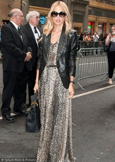 2c1c3096b4d4 Rachel Zoe in leopard print maxi dress and black leather biker jacket with  Chanel half tint