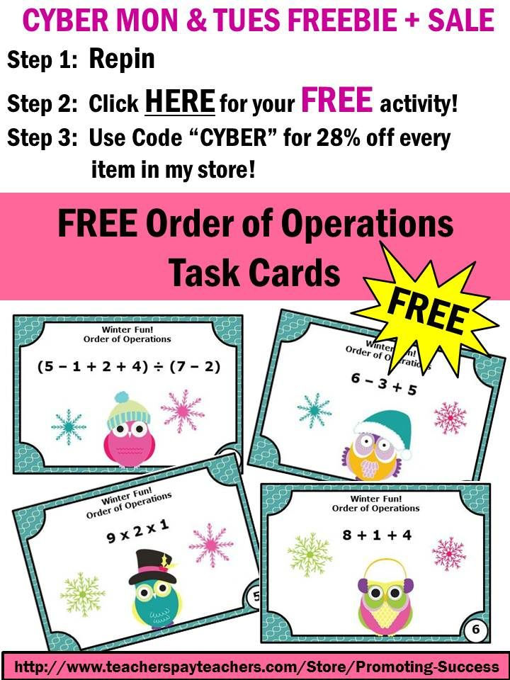 5th 6th grade order of operations task cards winter math activities educational. Black Bedroom Furniture Sets. Home Design Ideas