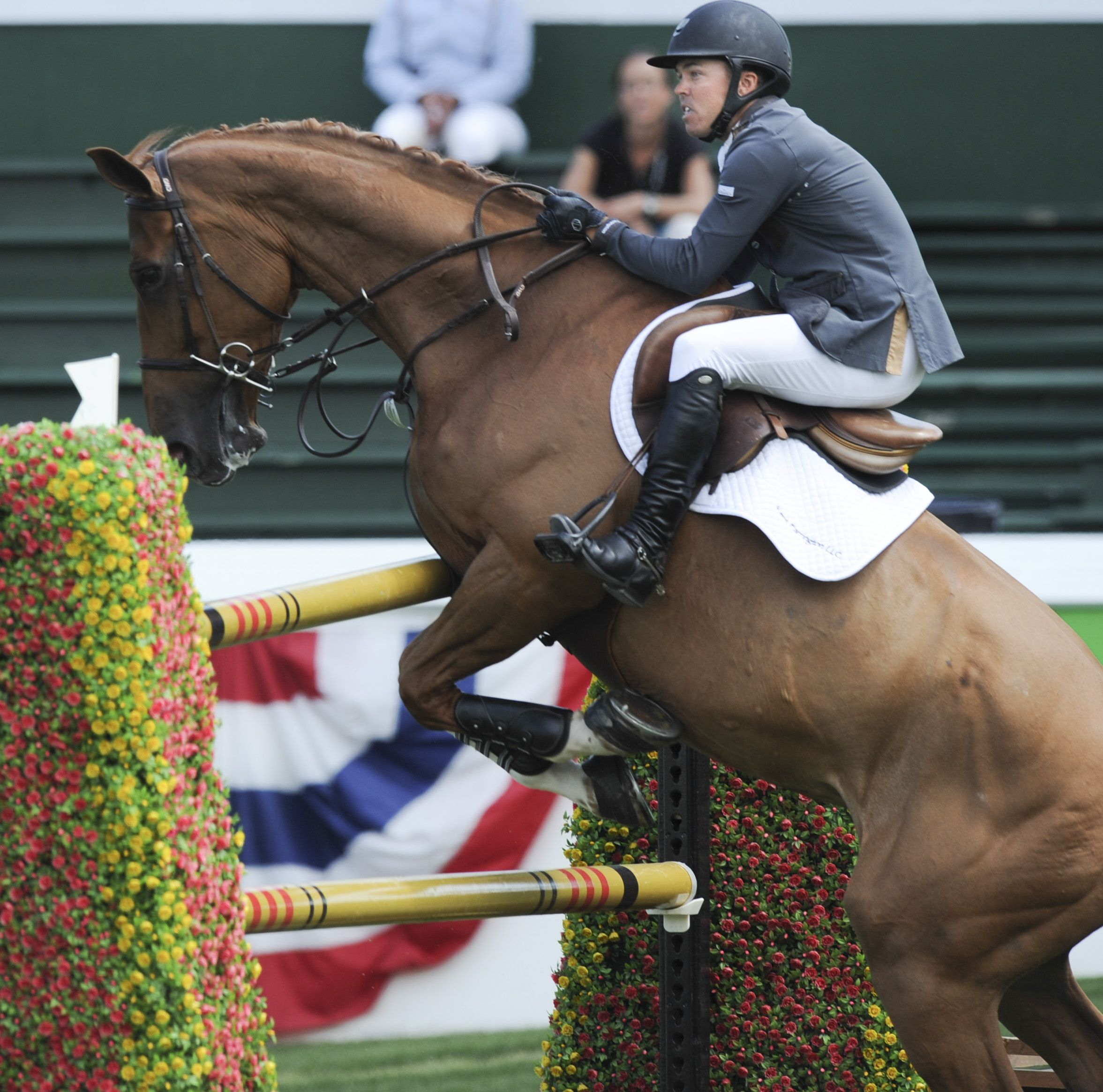 Kent Farrington takes a tumble at the Spruce Meadows