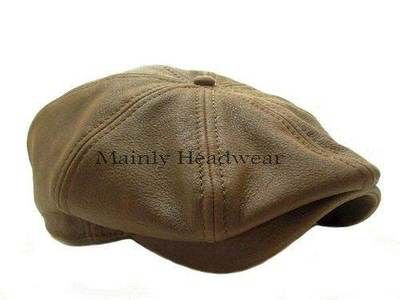 d42b2a8f71f STETSON Leather IVY cap Mens Newsboy hat Golf BROWN GATSBY Cabbie driving  MEDIUM
