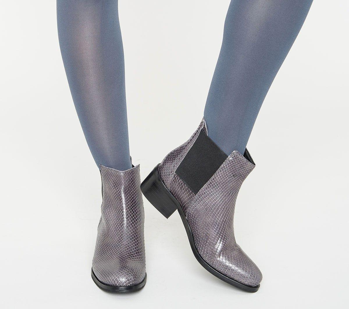chelsea boots cuir effet reptile gris - boots / bottines