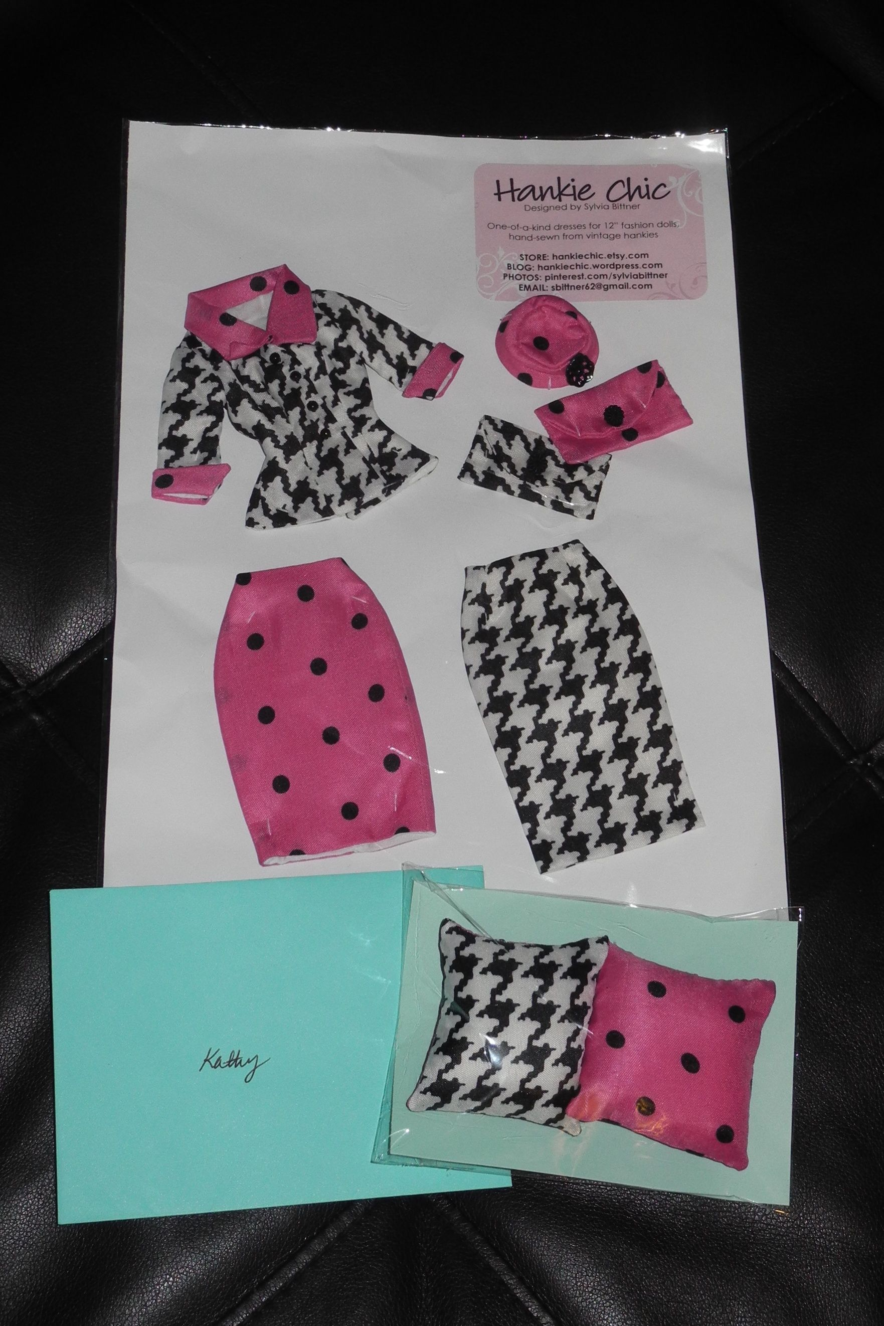 """Various items for my Barbie Dolls that were custom made for me by Sylvia Bittner from the Etsy shop """"Hankie Chic."""""""