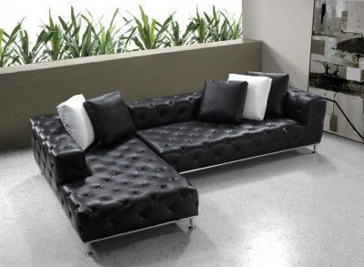 Black Button Tufted Leather Modern Sectional Sofa w/Steel Legs ...