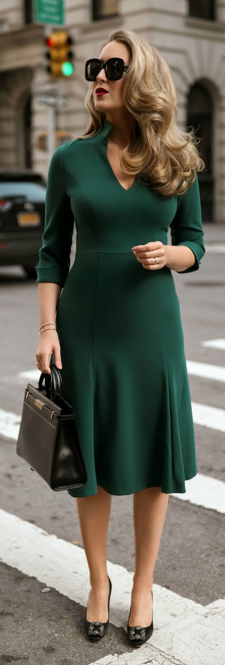 // Green woven v-neck dress with stand-up collar and 3/4 sleeves, black jeweled toe pumps, black leather handbag, black large vintage-inspired square sunglasses{ #RTR #ad #blackhalo #manoloblahnik #neimanmarcus #saintlaurent #netaporter #alaia #30Dressesin30Days #Day13 #workwear #classicstyle #rtrinsider }