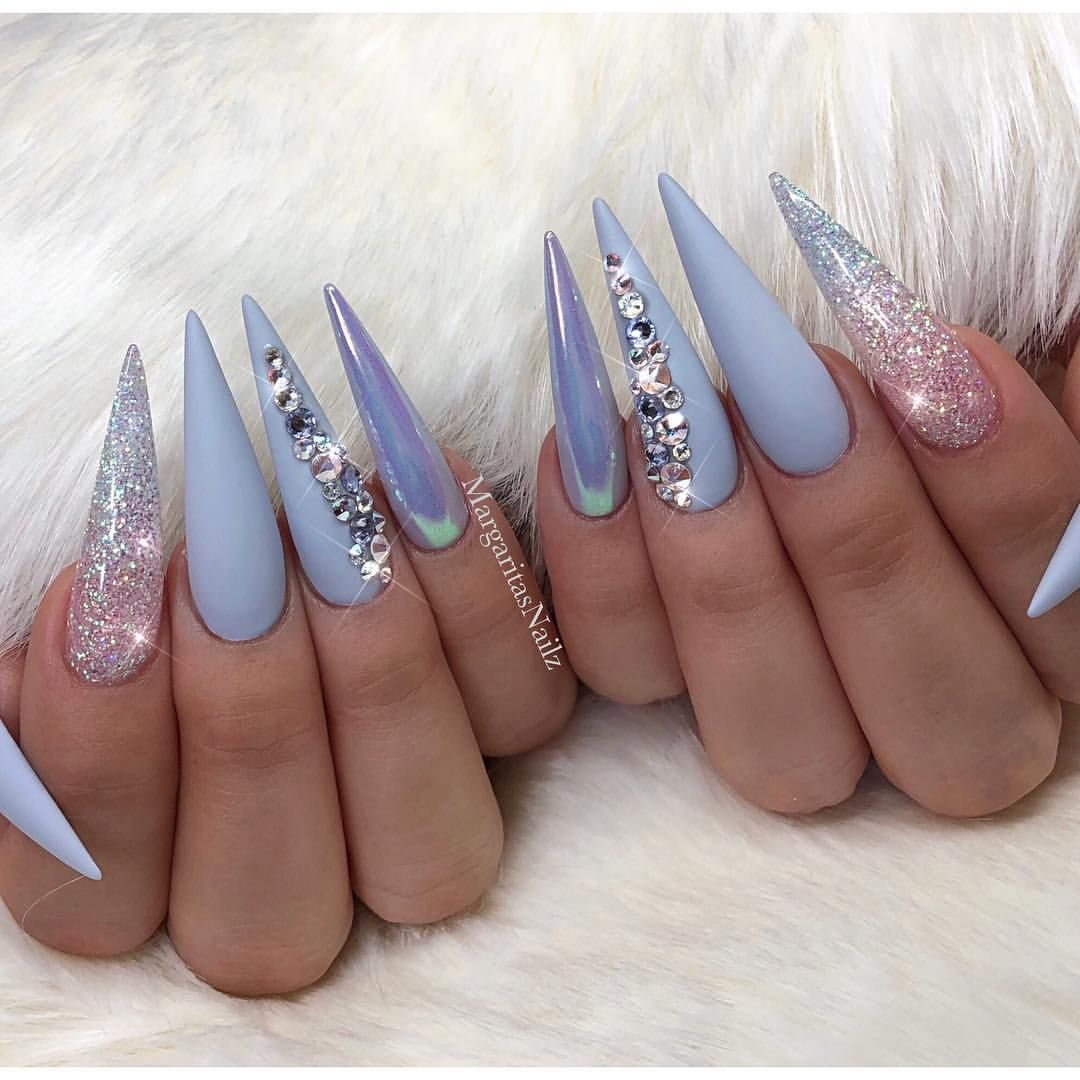 Pastel color stiletto nails Matte nail art glitter design Baby blue ...