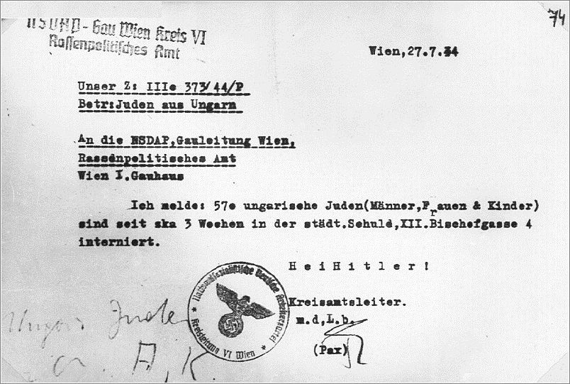 A German letter notifying of 570 deported Hungarian Jews in Vienna - country of origin letter