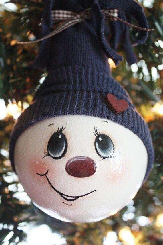 hand painted large navy blue snowman light bulb ornament basteln pinterest dunkelblau. Black Bedroom Furniture Sets. Home Design Ideas