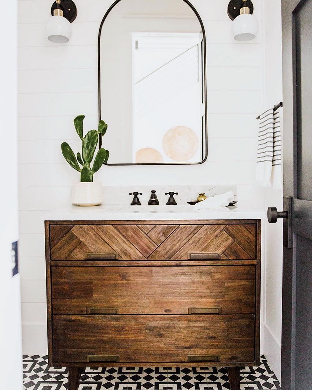 Dark Wood Stain Throughout Love The Mirror For The Bathroom And The Light Fixtures Bathroom Decor Home Decor Bathroom Design