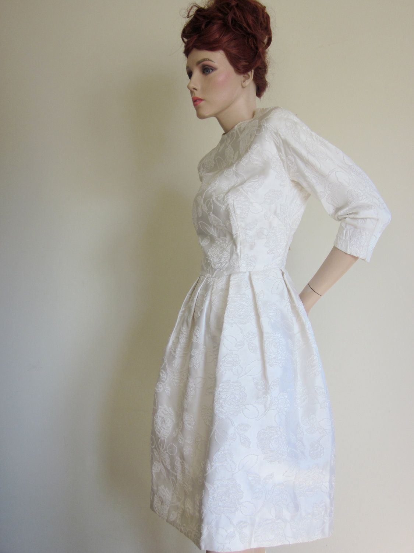 Vintage Wedding Dress 1950s/60s Short Wedding Dress Audrey Hepburn ...