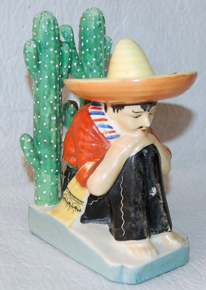 FUN BOOKEND MADE IN JAPAN / MEXICAN MAN SIESTA TIME / CACTUS   SOMBRERO