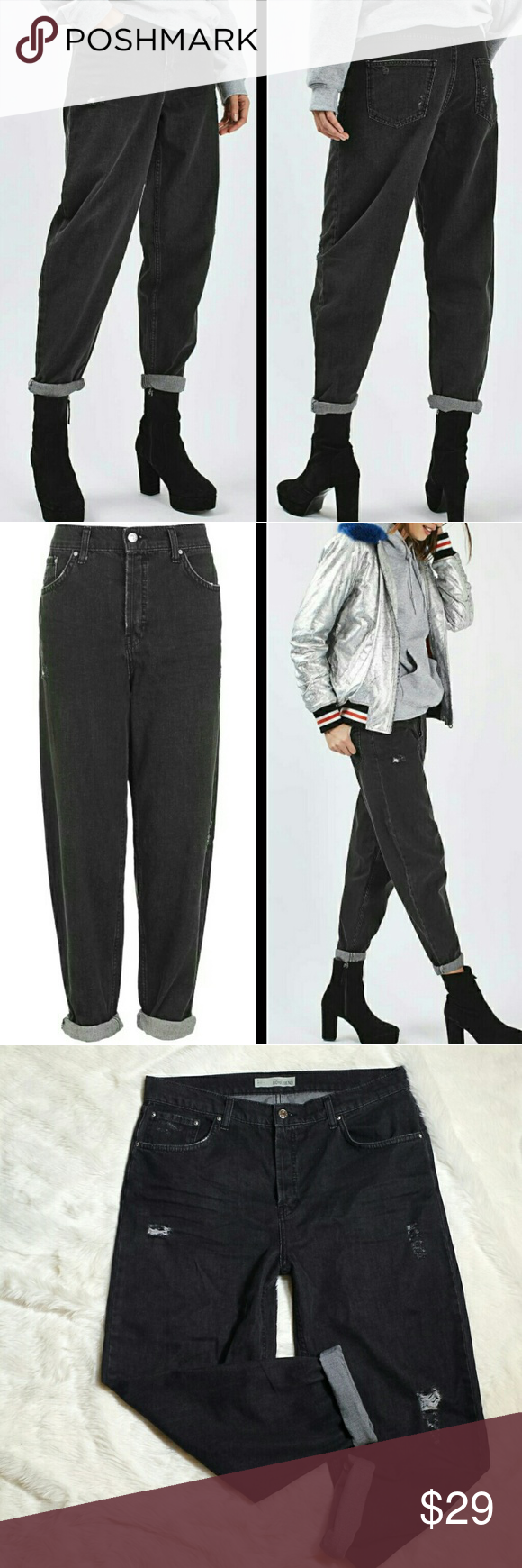 """Topshop Moto Boyfriend Oversized Jeans Size 32 NWT Topshop Moto Boyfriend Oversized Jeans, size 32. Borrow a look from the boys in these boyfriend style jeans. Cut in an oversized, baggy fit, they come in a washed black super soft denim with rolled hems. Wear with heeled ankle boots for a girlie touch. 100% Cotton. Factory destroyed look. High rise provides extra coverage. Style #02Z04JWBK. New with tags.  Measurements  Waist 18"""" Rise 12.5"""" Inseam 32"""" Leg opening 6"""" Topshop Jeans Boyfriend"""
