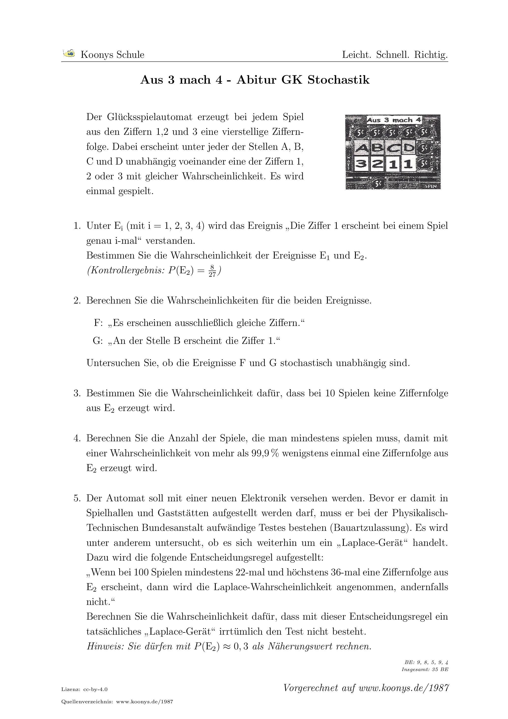 Aus 3 mach 4 Abitur GK Berlin 2008. Alle Aufgaben auf www.koonys.de ...